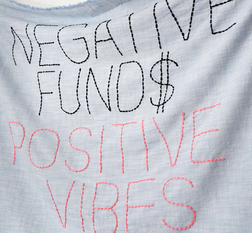 Slide View: 2: Amber Ibarreche X UO Negative Funds Positive Vibes Embroidered Tapestry