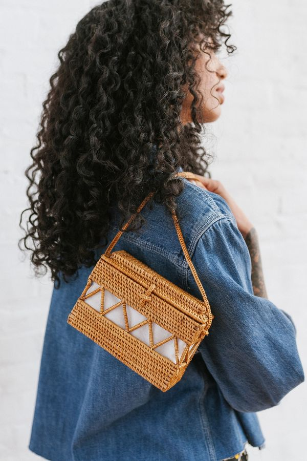Slide View: 1: Straw Structured Crossbody Bag