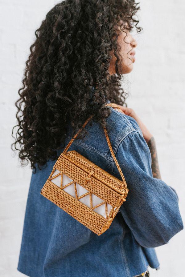 Slide View: 1: Straw Structured Crossbody Bag