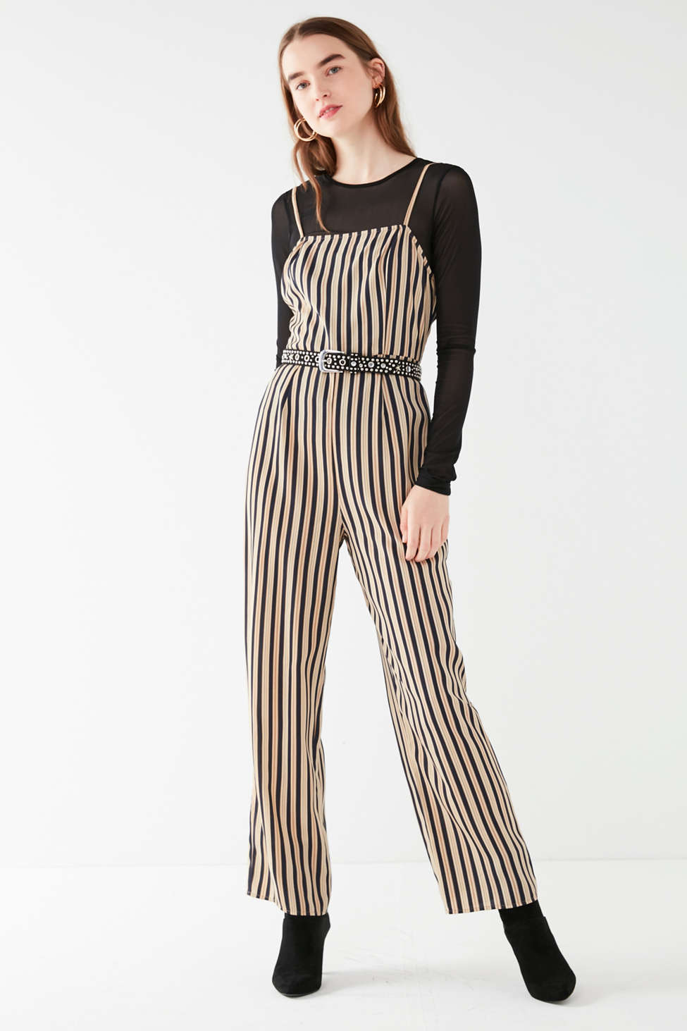 Uo Straight Neck Striped Jumpsuit Urban Outfitters