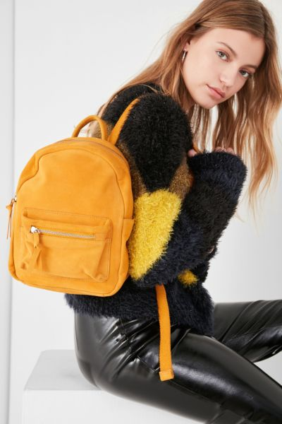 Mini Classic Suede Backpack - Yellow One Size at Urban Outfitters