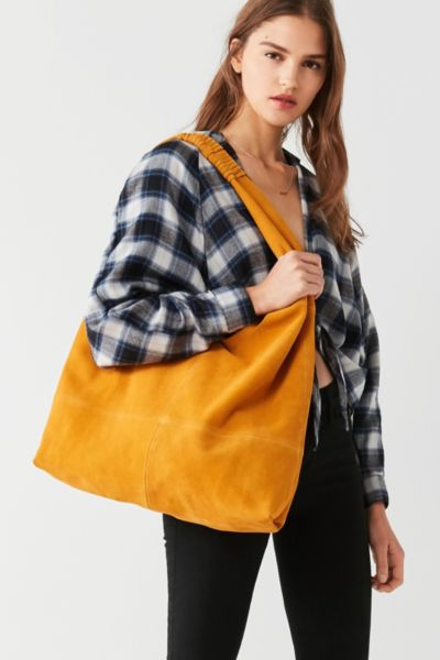 Slouchy Suede Tote Bag - Yellow One Size at Urban Outfitters