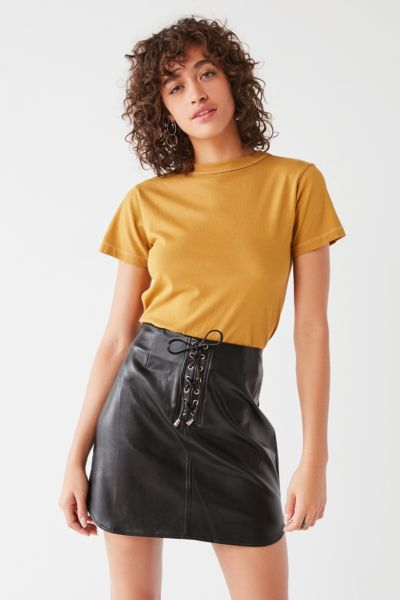 UO Faux-Leather Lace-Up Mini Skirt - Black XS at Urban Outfitters