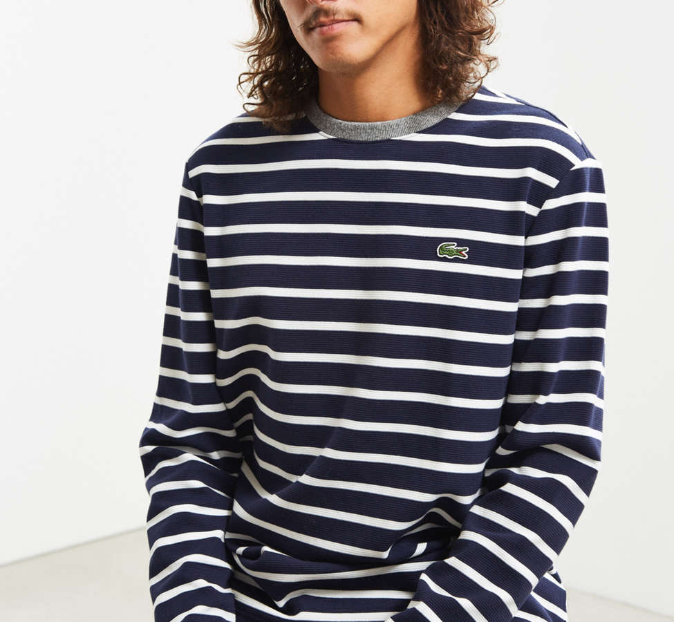 Slide View: 1: Lacoste Striped Ottoman Long Sleeve Tee