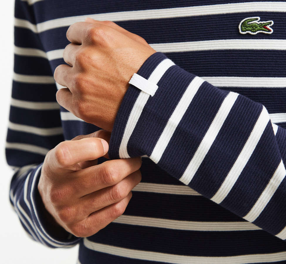 Slide View: 2: Lacoste Striped Ottoman Long Sleeve Tee
