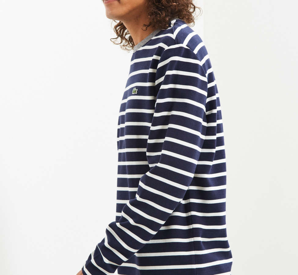 Slide View: 3: Lacoste Striped Ottoman Long Sleeve Tee