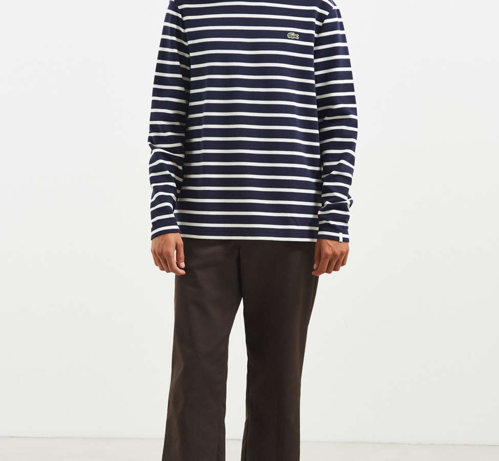 Slide View: 6: Lacoste Striped Ottoman Long Sleeve Tee