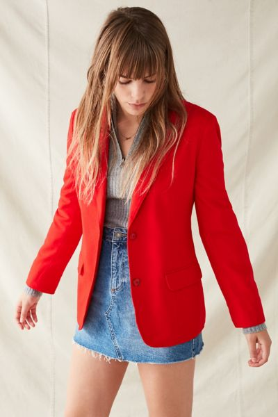 Vintage Wool Blazer - Red S/M at Urban Outfitters