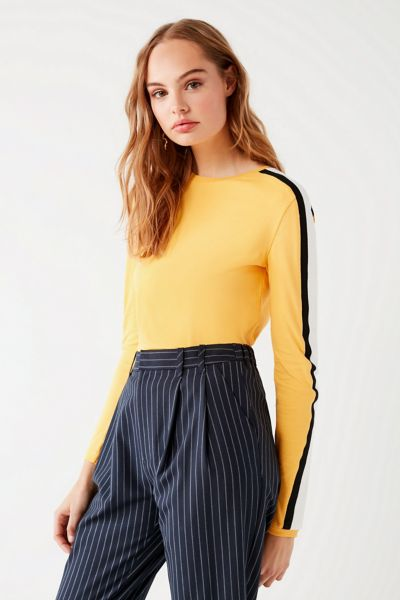 UO Tipped Sleeve Striped Sweatshirt - Yellow XS at Urban Outfitters