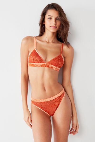 Adele Velvet Trim Lace Thong - Medium Orange S at Urban Outfitters