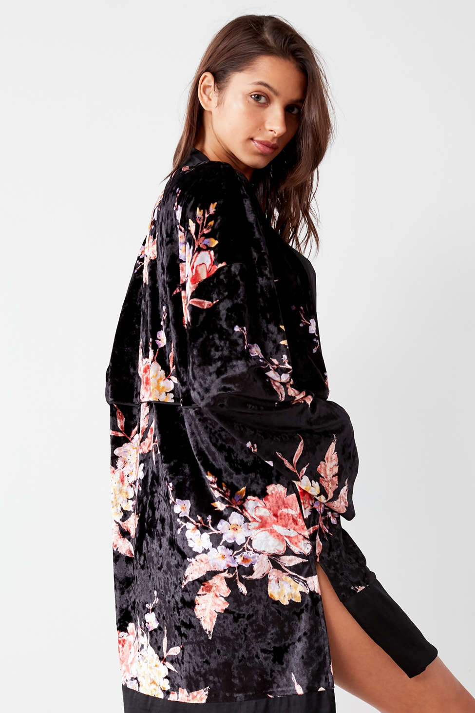 Slide View: 3: Out From Under Floral Velvet Robe