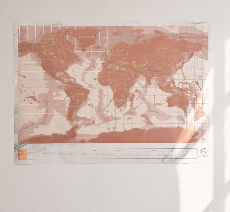 Slide View: 2: Rose Gold Scratch-Off World Map