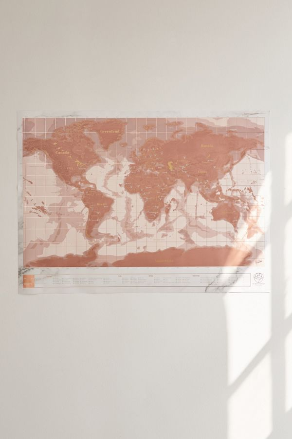 Rose gold scratch off world map urban outfitters slide view 2 rose gold scratch off world map gumiabroncs Images