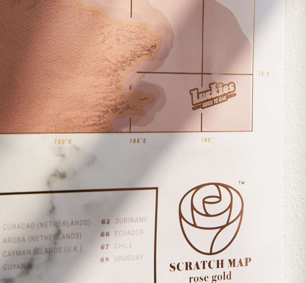 Slide View: 5: Rose Gold Scratch-Off World Map