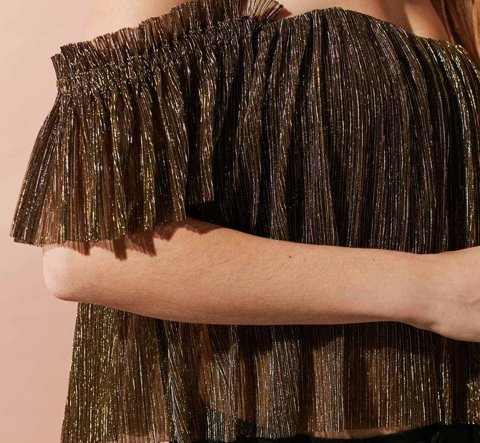 Slide View: 4: UO Pleated Shimmer Off-The-Shoulder Top