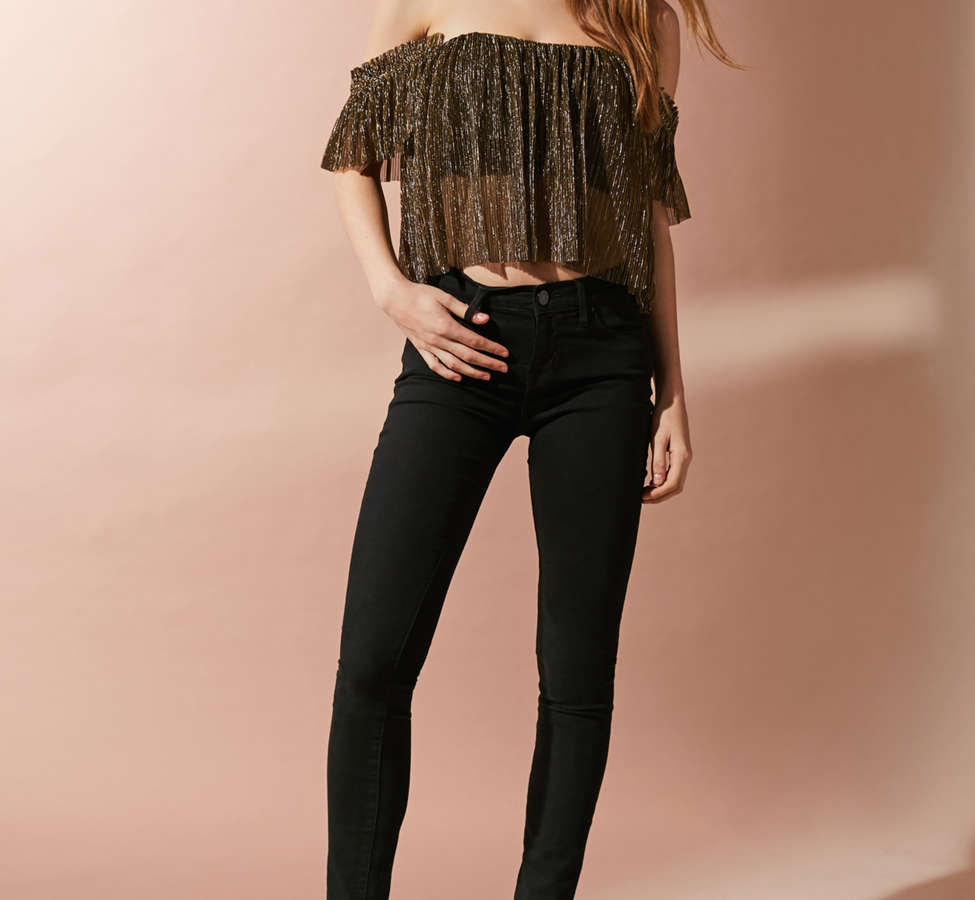 Slide View: 6: UO Pleated Shimmer Off-The-Shoulder Top