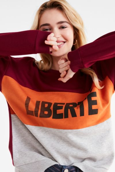 Liberte Pullover Sweatshirt - Maroon XS at Urban Outfitters