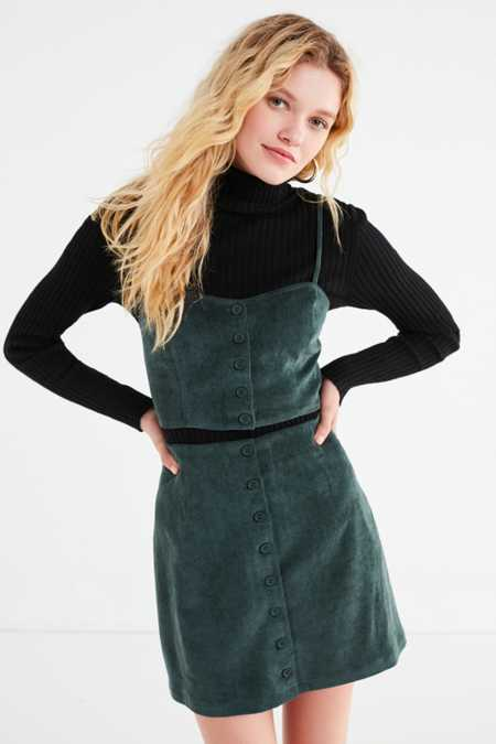 Slide View: 1: UO Corduroy Button-Down Skirt