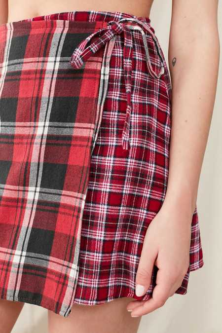 Urban Renewal Remade Flannel Wrap Mini Skirt