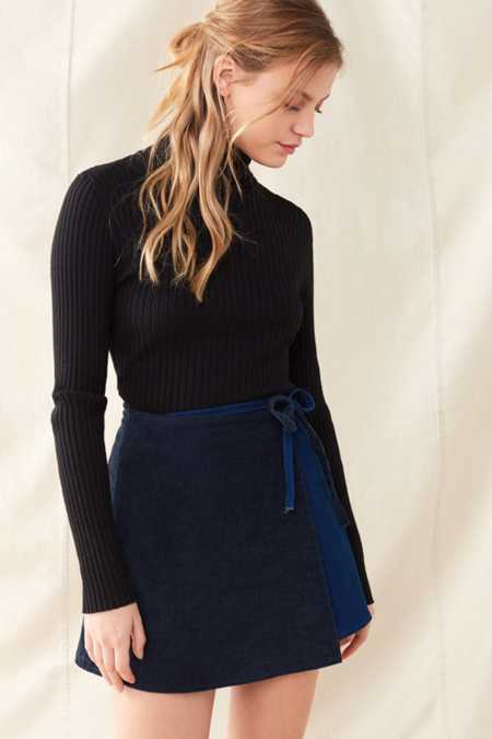 Urban Renewal Remade Corduroy Mini Wrap Skirt