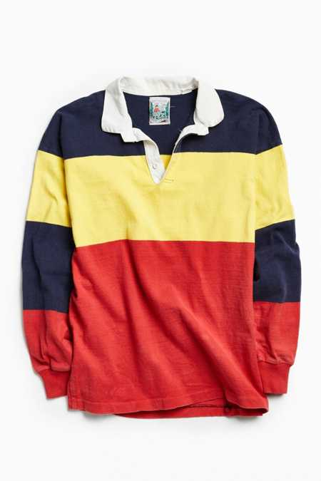 Vintage Thatcher & Cross Red Multi Colorblocked Rugby Shirt