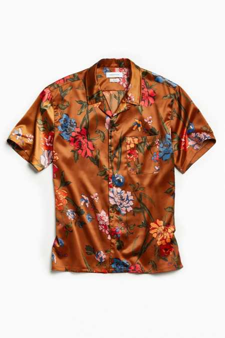 UO Liam Satin Short Sleeve Button-Down Shirt
