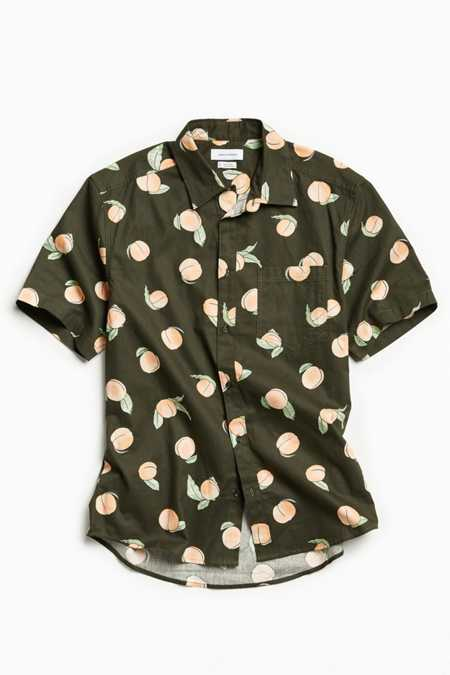 UO Cartoon Peaches Short Sleeve Button-Down Shirt