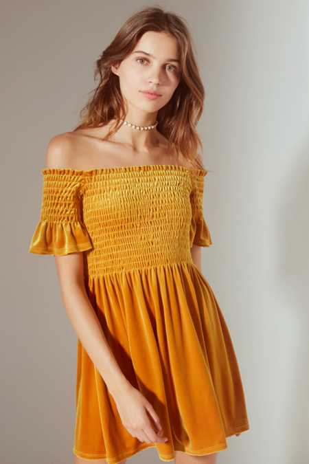 UO Clara Off-The-Shoulder Smocked Velvet Dress