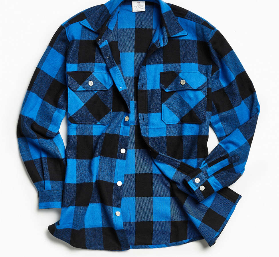 Slide View: 1: Rothco Heavyweight Buffalo Plaid Flannel Button-Down Shirt