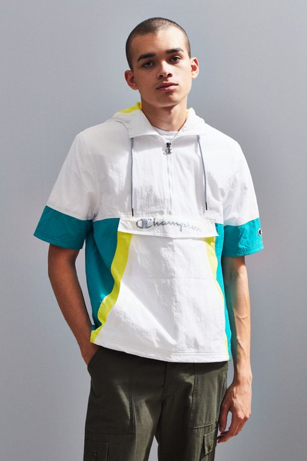 slide view 1 champion woven colorblock short sleeve anorak jacket