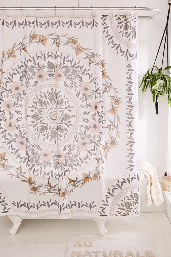 Slide View 1 Sketched Floral Medallion Shower Curtain