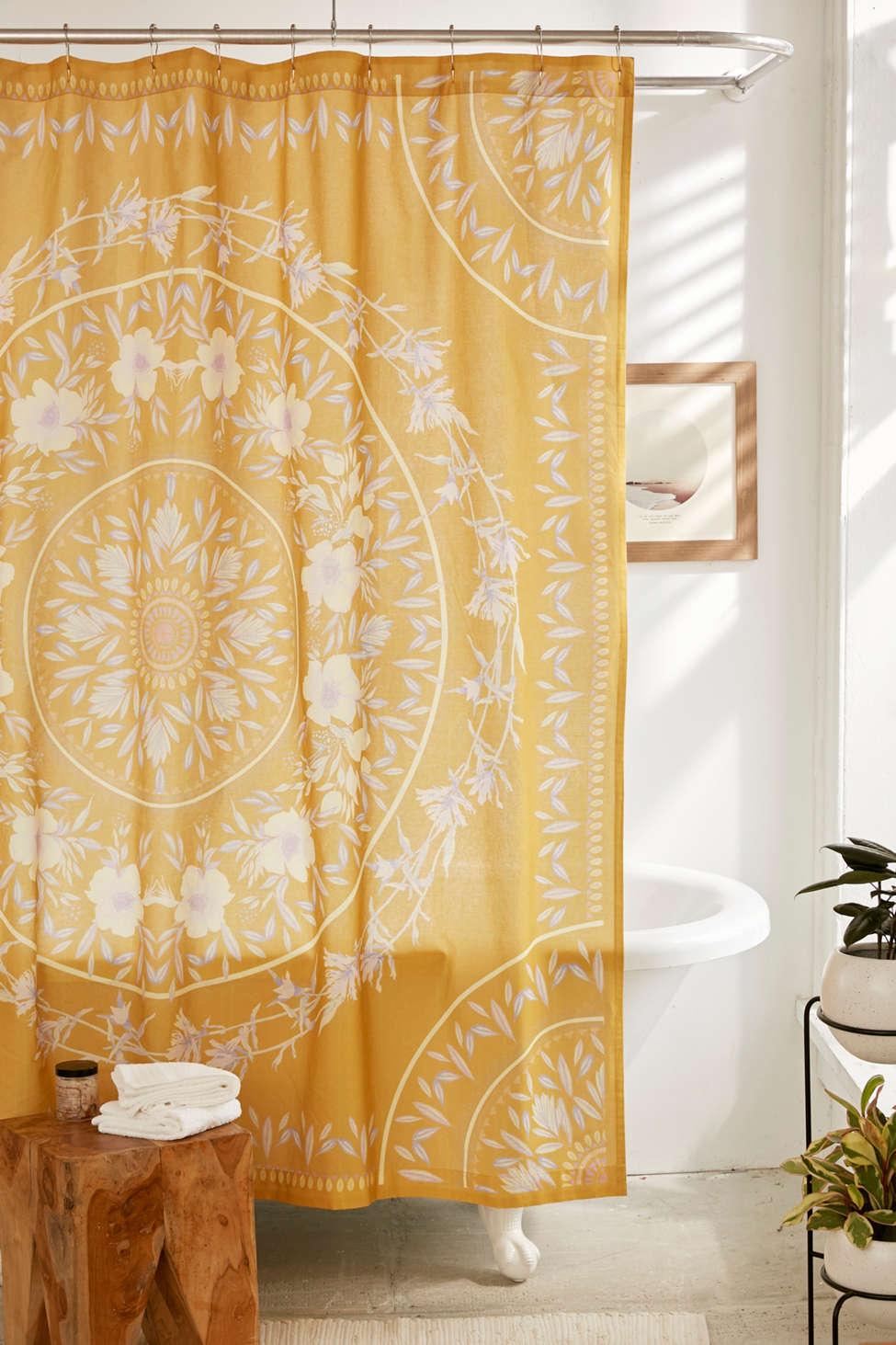 Slide View: 1: Sketched Floral Medallion Shower Curtain
