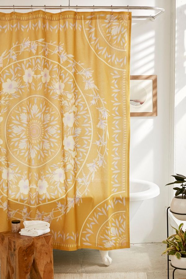 Orange Floral Shower Curtain. Slide View  1 Sketched Floral Medallion Shower Curtain Urban Outfitters