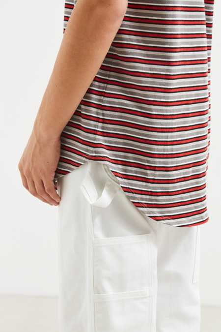 UO Horizontal Stripe Curved Hem Tee