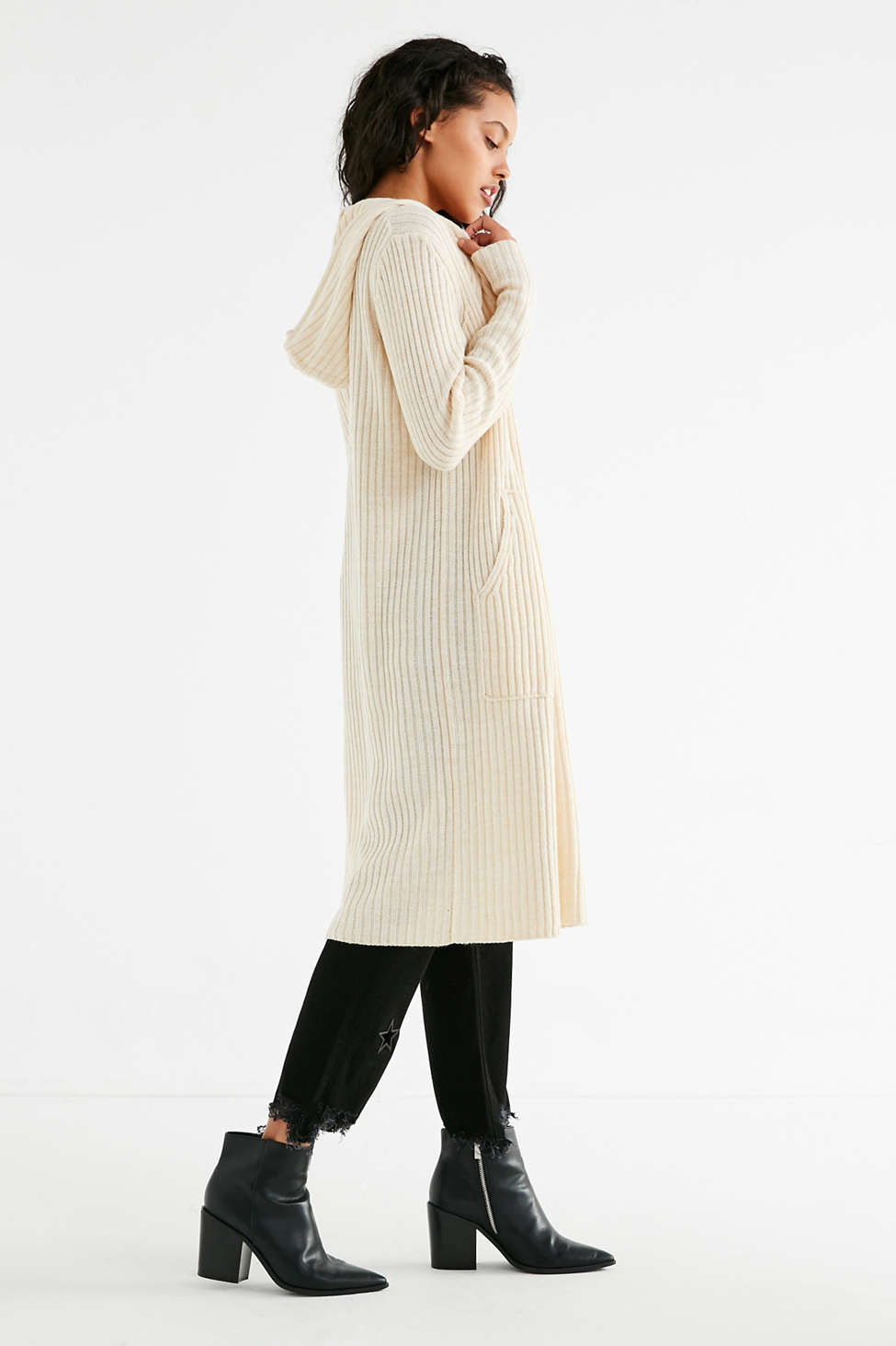 UO Ribbed Knit Hooded Maxi Cardigan | Urban Outfitters