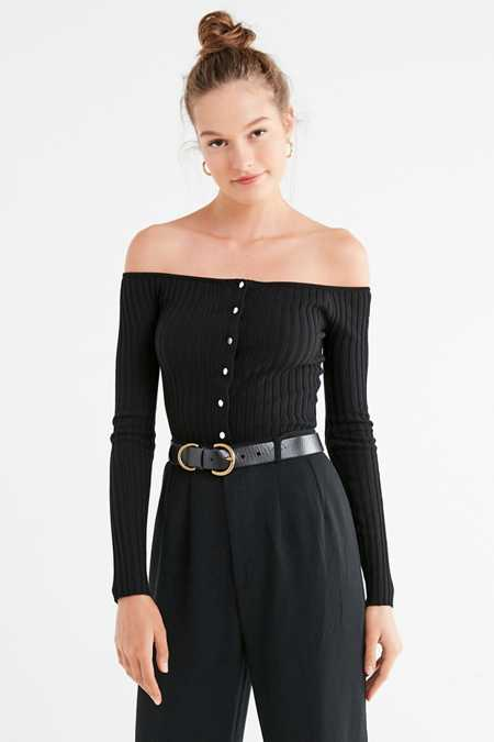 UO Brigitte Button-Down Off-The-Shoulder Sweater