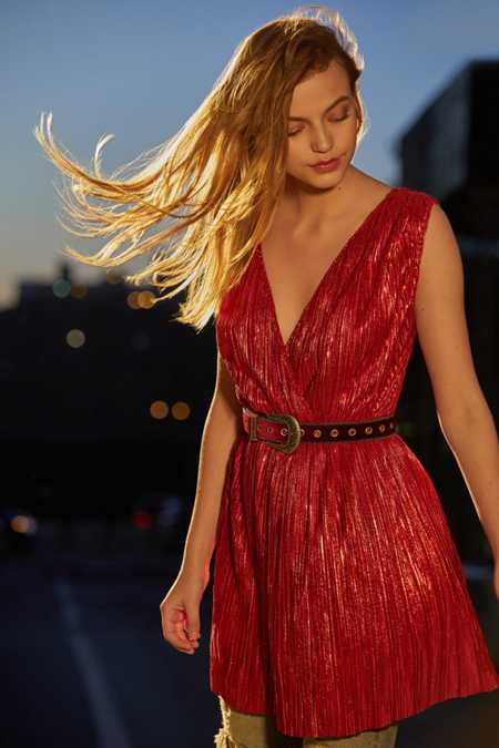 Oh My Love Shimmer Pleated Fit + Flare Dress