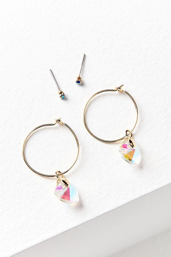Crystal Heart Post Hoop Earring Set
