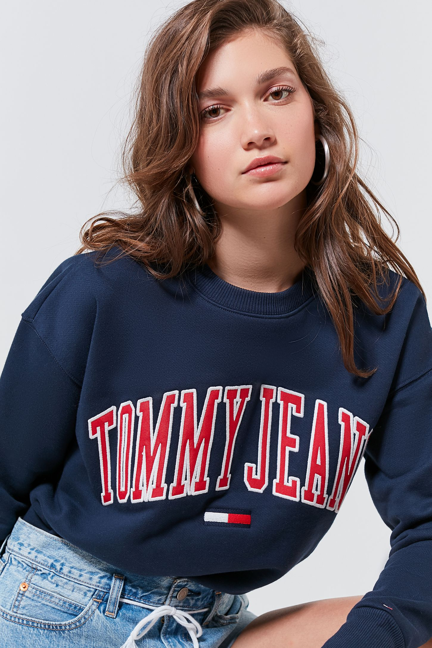 Tommy Jeans Collegiate Crew-Neck Sweatshirt. Tap image to zoom. Hover to  zoom. Double Tap to Zoom 7a52ce1080