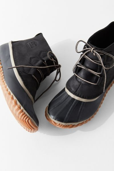 Sorel Out N About Leather Duck Boot - Washed Black 6 at Urban Outfitters