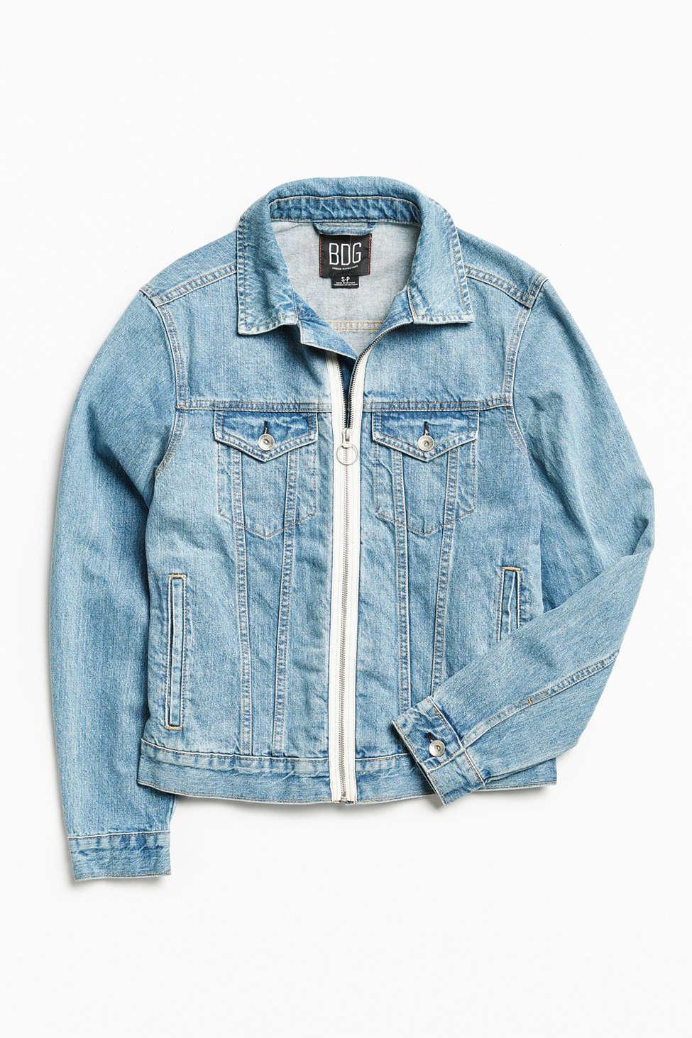 Bdg Zip Front Denim Trucker Jacket Urban Outfitters