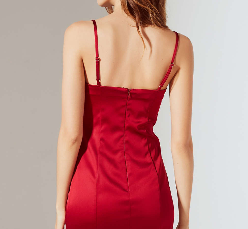 Slide View: 3: UO Val Straight-Neck Satin Mini Dress