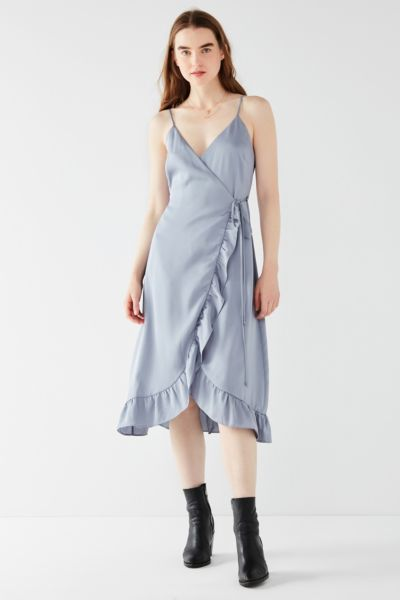 UO Ruffle Hem Satin Wrap Midi Dress - Grey XS at Urban Outfitters
