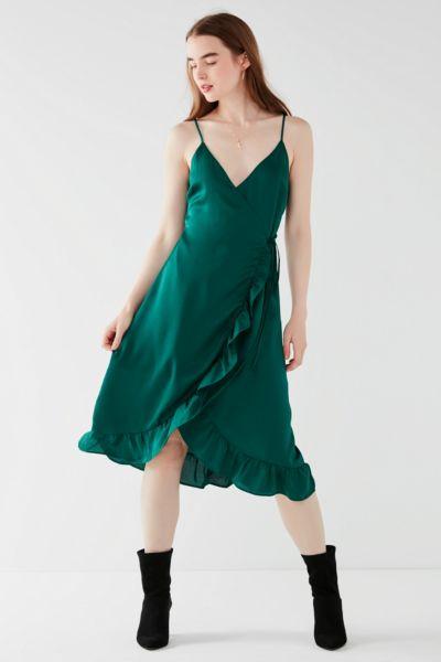 UO Ruffle Hem Satin Wrap Midi Dress - Dark Green XS at Urban Outfitters