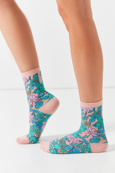 Out From Under '60s Crew Sock - Pink One Size at Urban Outfitters
