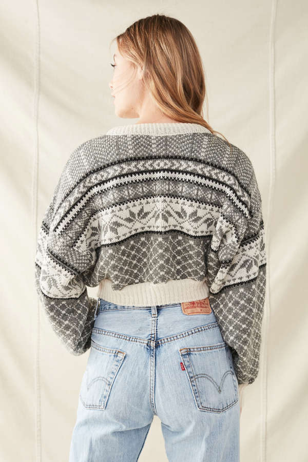 Urban Renewal Recycled Cropped Fair Isle Sweater | Urban Outfitters