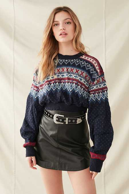 Urban Renewal Recycled Cropped Fair Isle Sweater