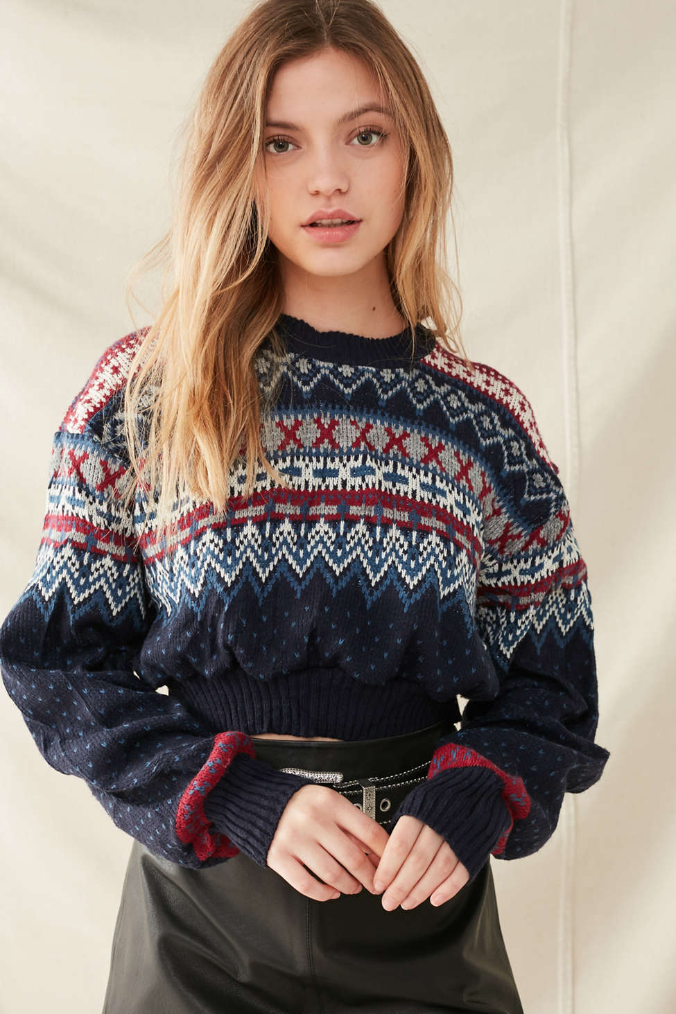 Urban Renewal Recycled Cropped Fair Isle Sweater   Urban Outfitters