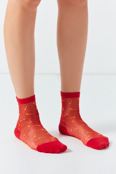 Out From Under Patterned Monofilament Crew Sock - Red One Size at Urban Outfitters