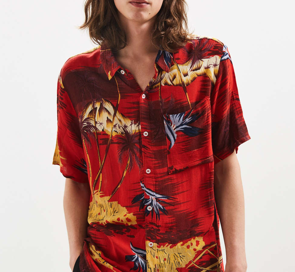 Slide View: 2: Rolla's Tropical Red Button-Down Shirt
